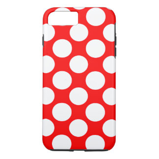 Modern Bright Red White Polka Dots Pattern iPhone 8 Plus/7 Plus Case