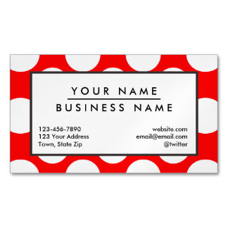 Modern Bright Red White Polka Dots Pattern Magnetic Business Cards