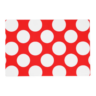 Modern Bright Red White Polka Dots Pattern Laminated Placemat