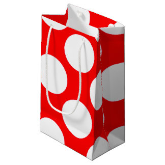 Modern Bright Red White Polka Dots Pattern Small Gift Bag