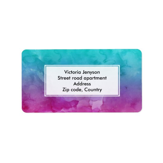 Modern bright turquoise pink watercolor ombre address label