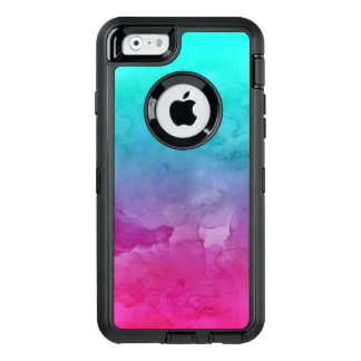 Modern bright turquoise pink watercolor ombre OtterBox defender iPhone case