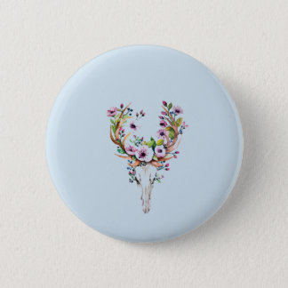 modern bright watercolor deer skull with flowers 6 cm round badge