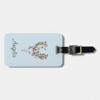 modern bright watercolor deer skull with flowers luggage tag