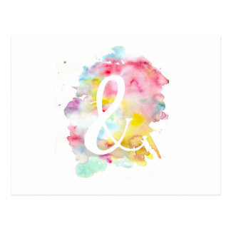 Modern bright watercolor white ampersand symbol postcard