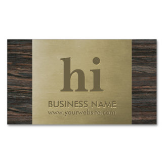 Modern Bronze Monogram Wood Texture Magnetic Business Cards