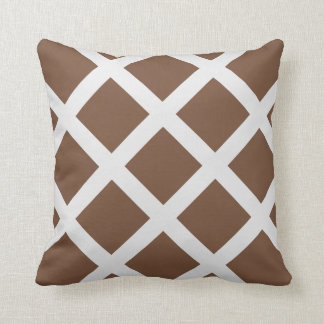 Modern Brown and White Criss Cross Stripes Pillow