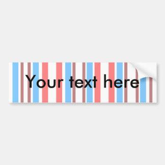 Modern brown blue stripes on white bumper sticker