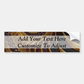 Modern brown fractal spiral pattern bumper sticker