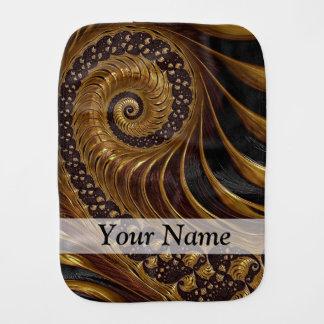 Modern brown fractal spiral pattern burp cloth
