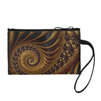 Modern brown fractal spiral pattern coin purse