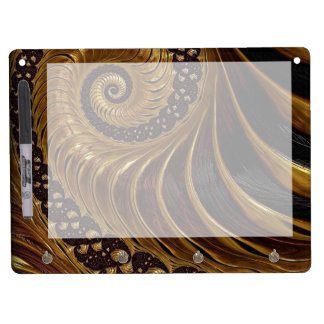 Modern brown fractal spiral pattern dry erase board with key ring holder