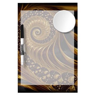 Modern brown fractal spiral pattern dry erase board with mirror