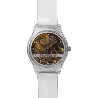 Modern brown fractal spiral pattern watch