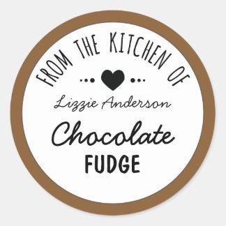 Modern Brown From the Kitchen of Label Round Sticker