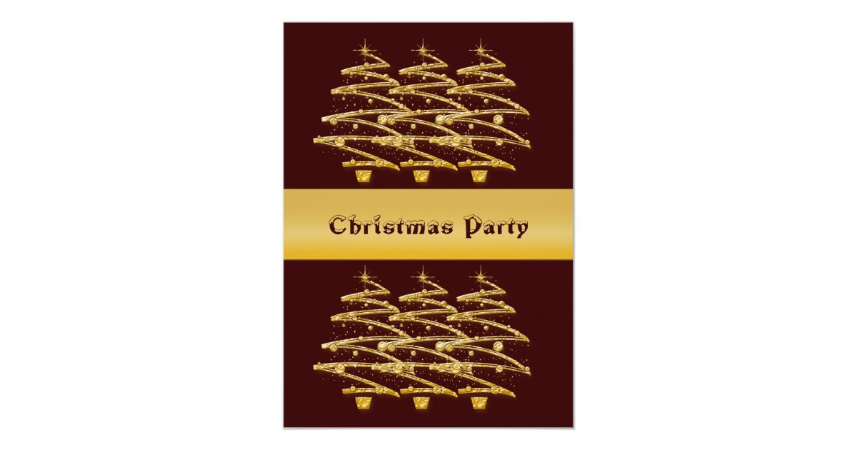 Modern brown gold christmas trees invitations Brown and gold christmas tree