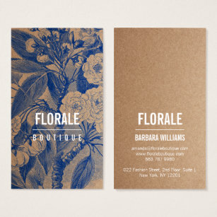 Florist business cards business card printing zazzle uk modern brown paper chic vintage flowers blue paint business card reheart Image collections