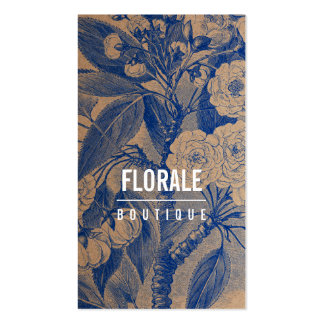 Modern brown paper chic vintage flowers blue paint pack of standard business cards