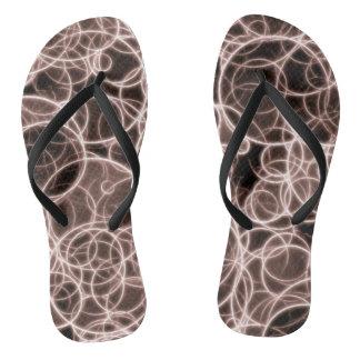 Modern Brown Pattern Adult, Slim Straps Flip Flops