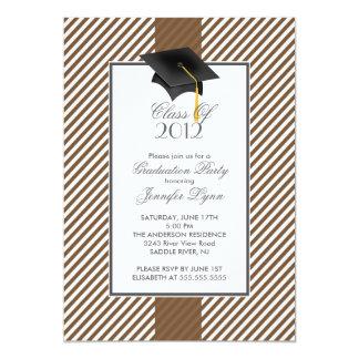 Modern Brown Stripe Graduation Party Invitation