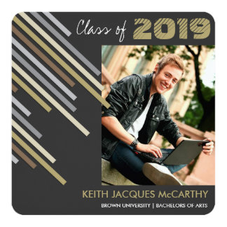 Modern Brown Stripes Graduation Party Photo Invite