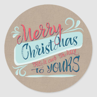 Modern Brush Merry Christmas Postage Stamp Classic Round Sticker