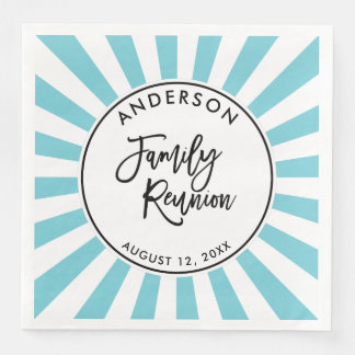 Modern Brush Script and Stripes Family Reunion Disposable Serviette