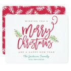 Modern Brush Script Bright Christmas Holiday Card