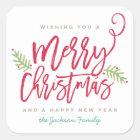Modern Brush Script Bright Christmas Square Sticker