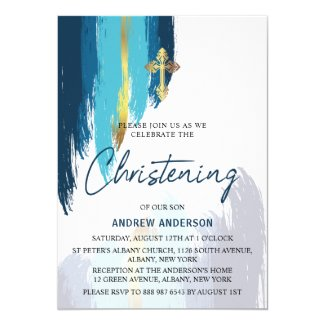 Modern Brush Script Gold And Blue Christening Invitation