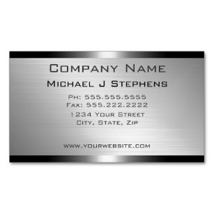 Brushed aluminium business cards zazzle uk modern brushed aluminium business card magnet reheart Gallery