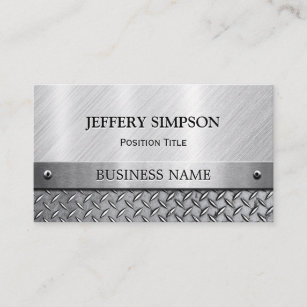 Brushed metal business cards zazzle uk modern brushed metal look fully customisable business card reheart Image collections
