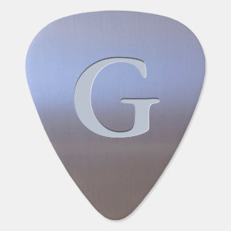 Modern Brushed Metal Look S01 Monogram Plectrum