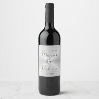 Modern Brushed Metal Wedding Wine Label