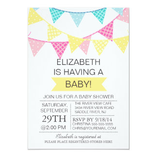 "Modern Bunting Yellow Gender Neutral Baby Shower 5"" X 7"" Invitation Card"