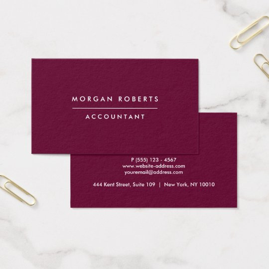 Modern Burgundy Accountant Lawyer or Professional Business Card