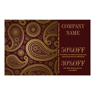 modern burgundy paisley pattern western fashion 14 cm x 21.5 cm flyer
