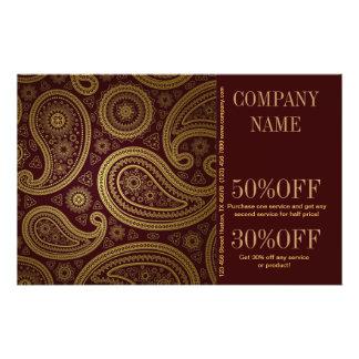 modern burgundy paisley pattern western fashion 14 cm x 21.5 cm flyer