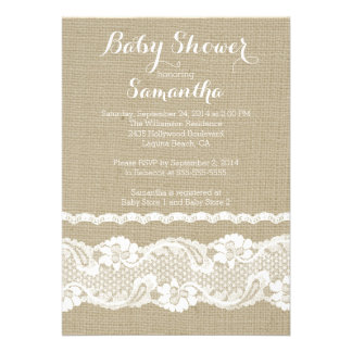 Modern Burlap Lace Baby Shower Invitation