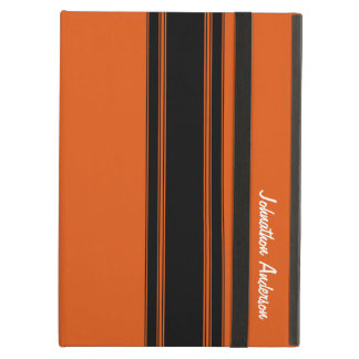 Modern Burnt Orange Racing Stripes With Name iPad Air Cover