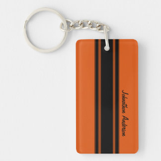 Modern Burnt Orange Racing Stripes With Name Double-Sided Rectangular Acrylic Keychain