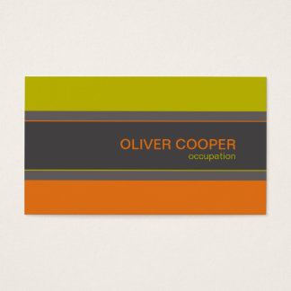 Modern business card Retro colors orange green