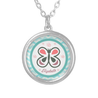 Modern Butterfly Personalized Chevron Kids Decor Silver Plated Necklace
