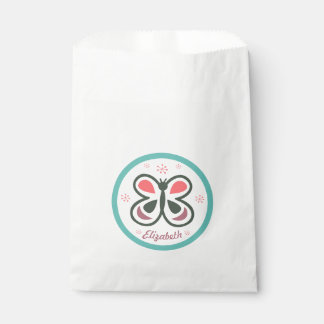 Modern Butterfly Personalized Chevron Kids Party Favour Bags