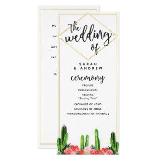 Modern Cactus and Floral Wedding Program