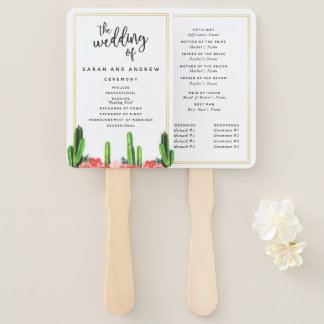 Modern Cactus and Floral Wedding Program Hand Fan