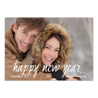 Modern Calligraphy Happy New Year with Photo 13 Cm X 18 Cm Invitation Card