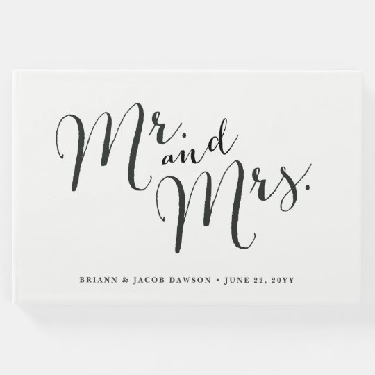 Modern calligraphy Mr. and Mrs. wedding guest book