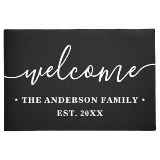 Modern Calligraphy Personalized Family Welcome Doormat