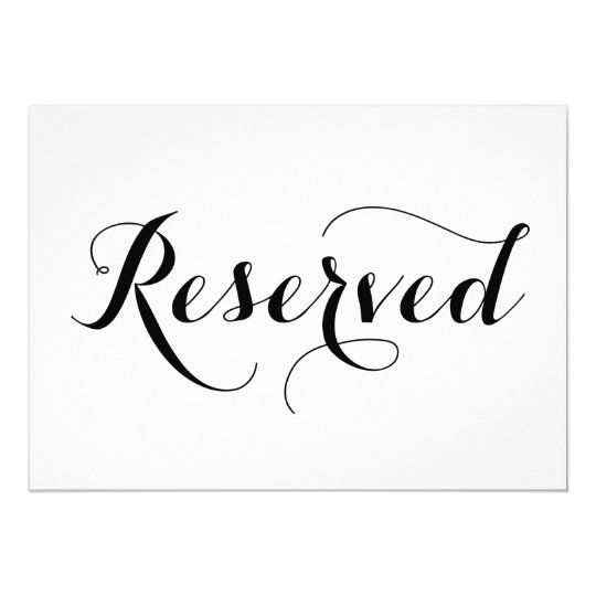 Modern calligraphy reserved wedding sign card zazzle